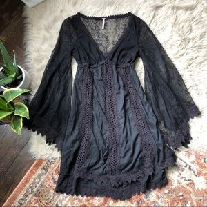 Free People Lace Sleeve Boho Dress